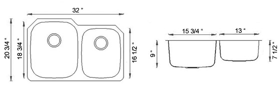 Sienna Arrone™ - Double Bowl Undermount Sink Dimensions