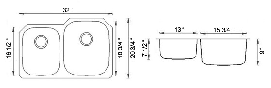 Sienna Arrone™ Reverse - Double Bowl Undermount Sink - Reverse Dimensions