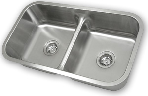 Stainless Steel Double Bowl Undermount Sink with Low Divider
