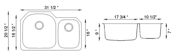 Sienna Marsi™ - Double Bowl Undermount Sink Dimensions
